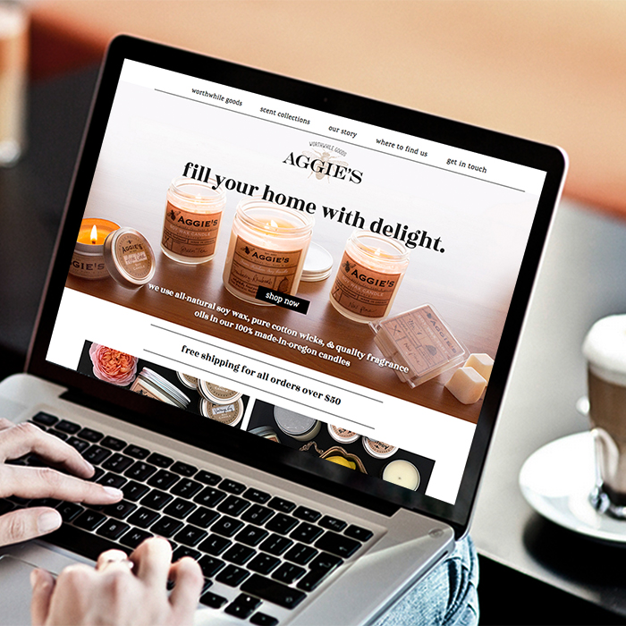 Aggies Candles web design development